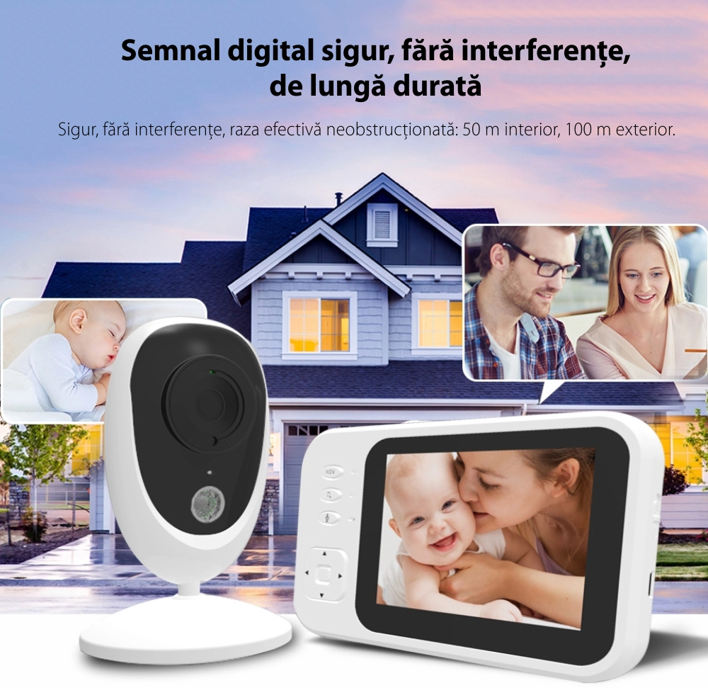 "Video Baby Monitor, BS-SM35, 3.5"" LCD, 17 dBm, Monitorizare temperatura, Cantece de leagan"