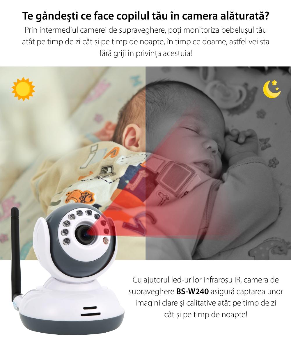 Kit Baby Monitor Digital, BS-W240, LCD 2,4 GHz, Wireless, Vedere nocturna, 19 dBm, Infrarosu, Trezire vocala