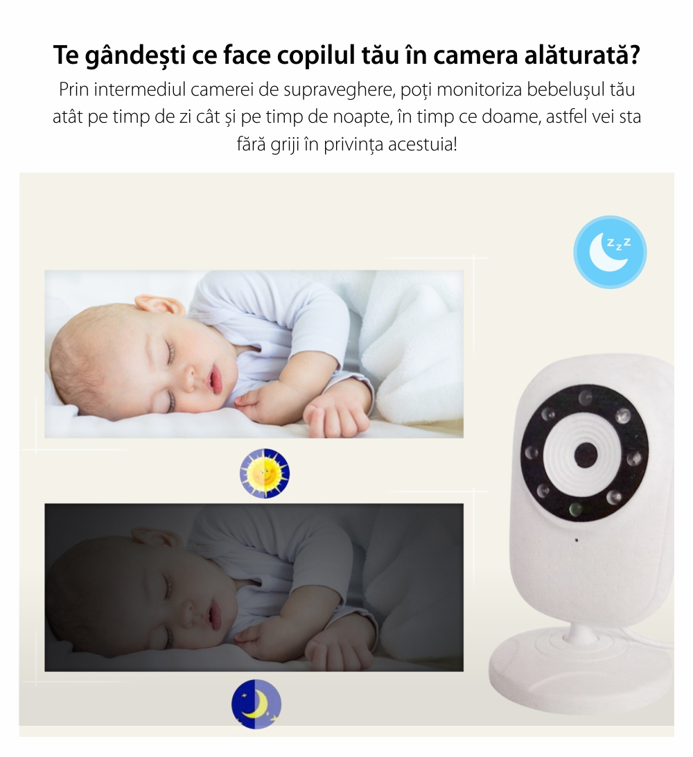 Baby Monitor, BS-835P, 3.5 inch, Wireless, Monitorizare temperatura camera, Comunicare bidirectionala, Cantece de leagan