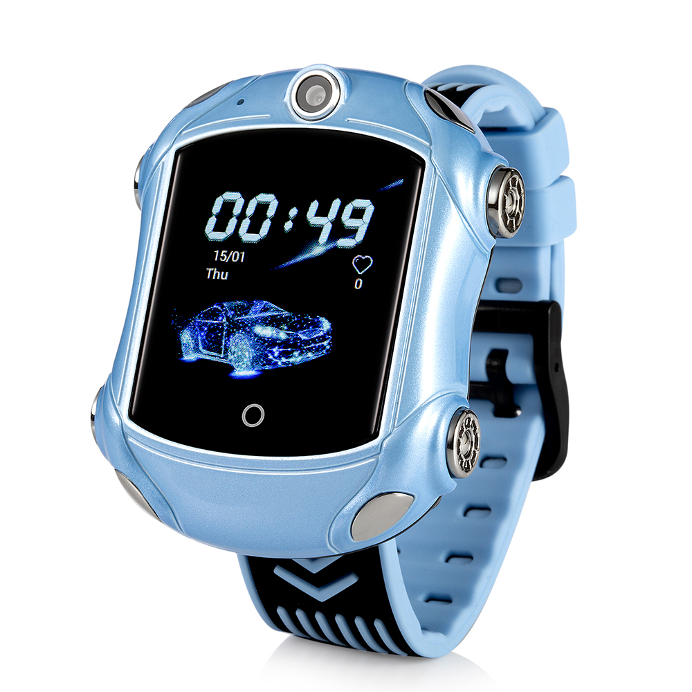 Ceas Smartwatch Pentru Copii, Wonlex KT14, Supercar, Albastru, SIM card, 4G, Rezistent la stropi accidentali IP54, Apel video imagine
