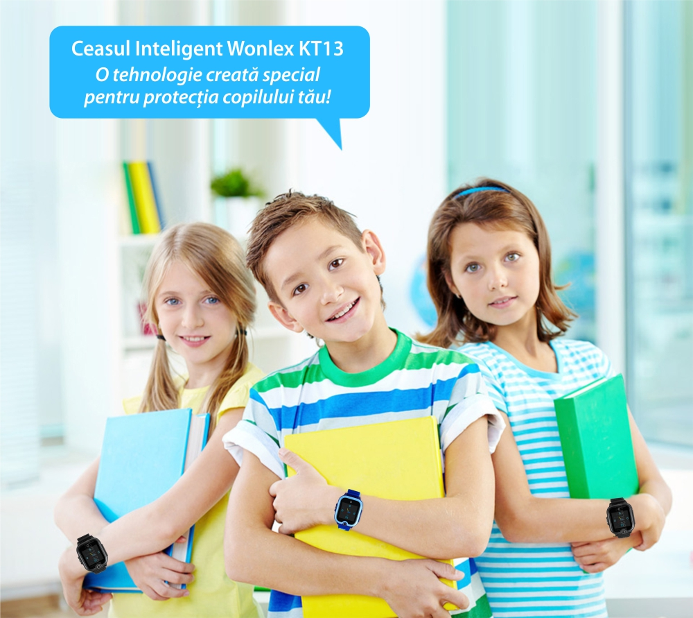 Ceas Smartwatch Pentru Copii, Wonlex KT13, Roz, SIM card, 4G, Rezistent la stropi IP54, Apel video