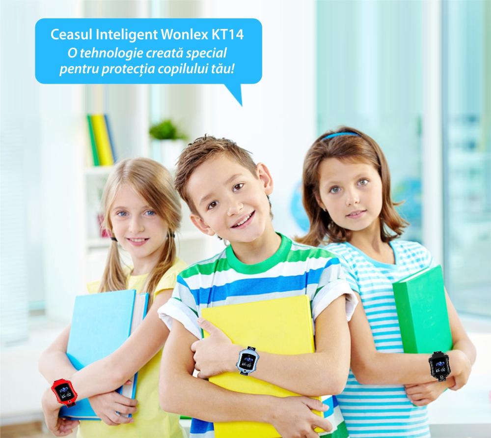 Ceas Smartwatch Pentru Copii, Wonlex KT14, Supercar, Albastru, SIM card, 4G, Rezistent la stropi accidentali IP54, Apel video