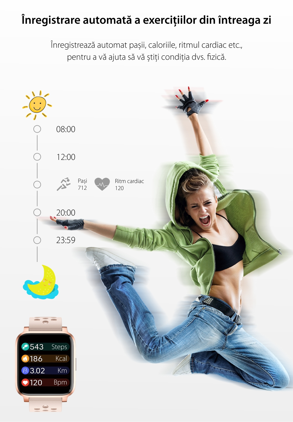 Bratara Fitness Tracker, Twinkler TKY-X3, Auriu, Monitorizare ritm cardiac, Notificari, Pedometru, Distanta