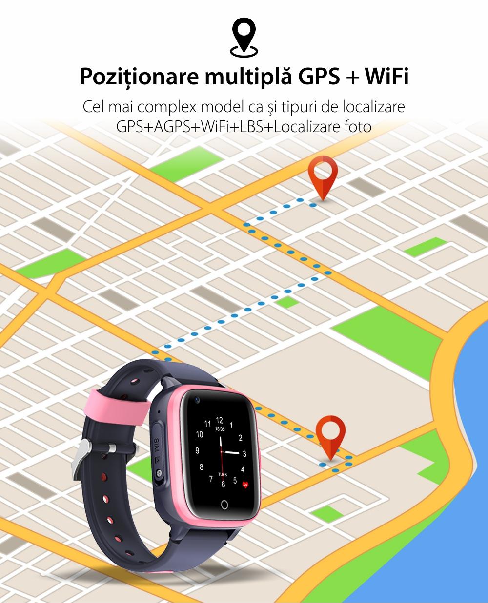 Ceas Smartwatch Pentru Copii, Wonlex KT15, Albastru, SIM card, 4G, Rezistent la apa IP54, Apel video