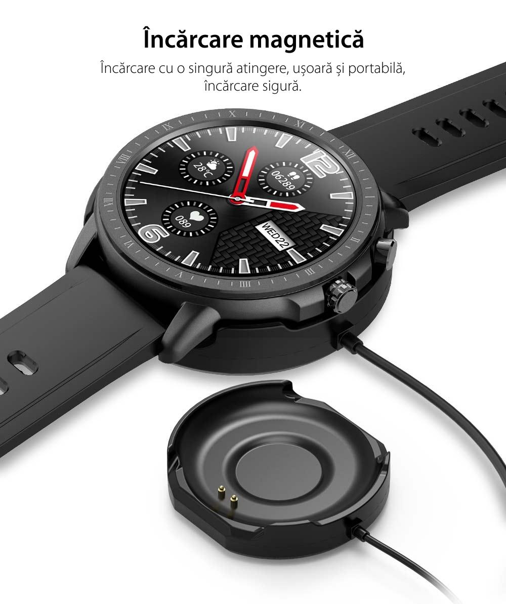 Ceas smartwatch, Twinkler TKY-S02, Roz-Auriu, Functie masurarea ritmului cardiac, Rezistenta la apa IP54, 23 moduri sportive