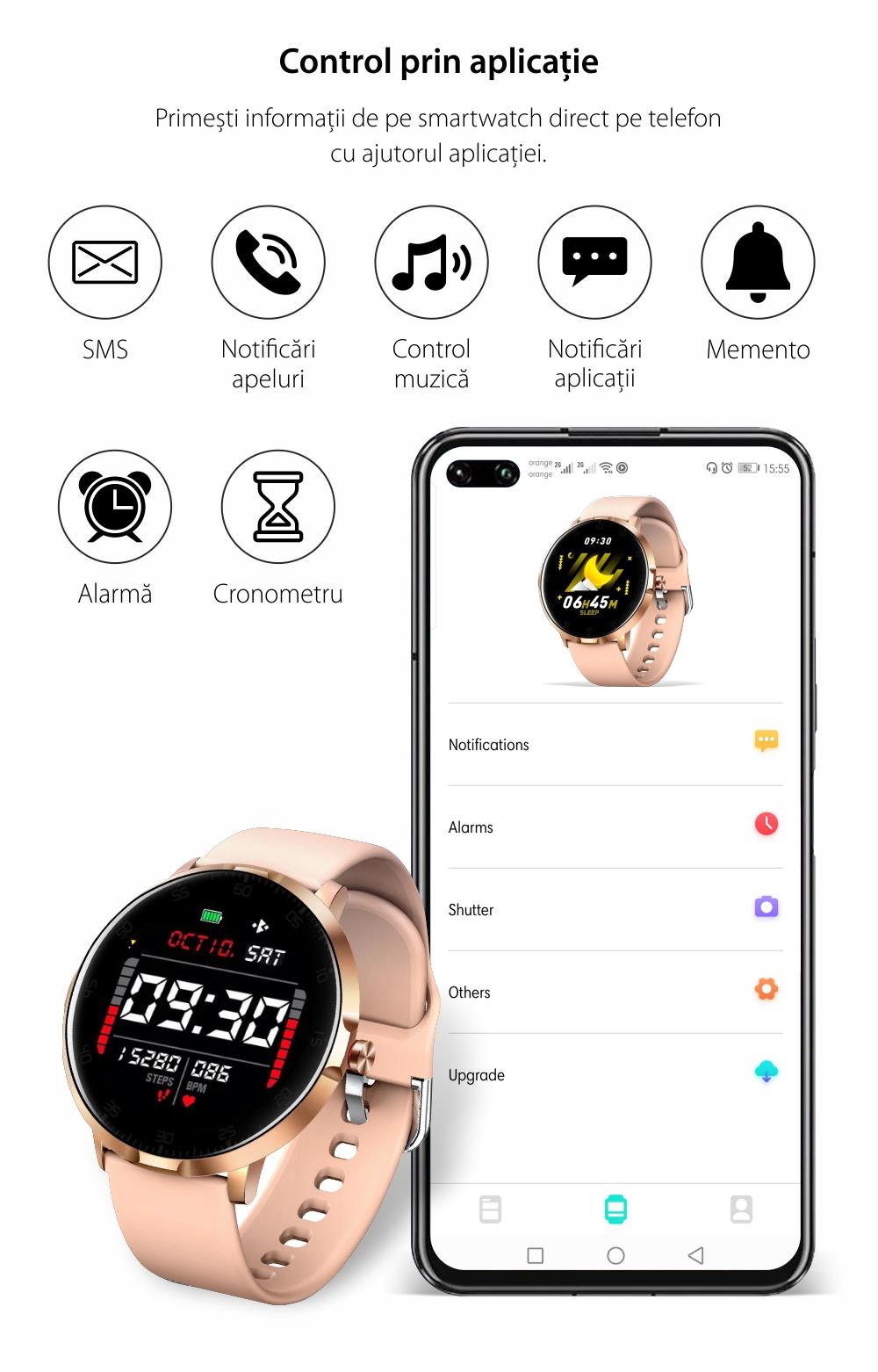 Ceas smartwatch, Twinkler TKY-K16, Gri, Bratara silicon, Monitorizare ritm cardiac, Pedometru, Notificari, 8 moduri sportive