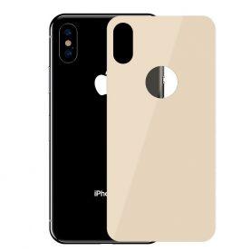 Folie de sticla pentru protectie spate, Apple iPhone X / XS, Baseus Tempered Glass, 0.3 mm, Auriu