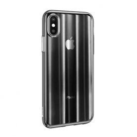 Husa Apple iPhone X / XS, Baseus Aurora, Negru Transparent