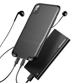 Husa pentru Apple iPhone X cu Splitter Lightning, Baseus Audio Case, Negru
