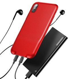 Husa pentru Apple iPhone X cu Splitter Lightning, Baseus Audio Case, Rosu