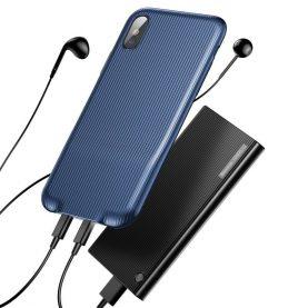 Husa pentru Apple iPhone X cu Splitter Lightning, Baseus Audio Case, Albastru