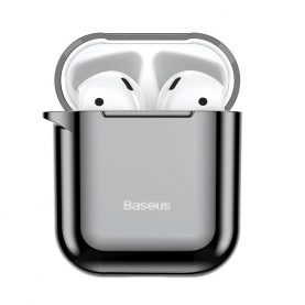 Husa protectie Apple AirPods 1/2, Baseus Shining Hook, Negru, Carabina metalica inclusa, ARAPPOD-A01