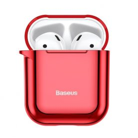 Husa protectie Apple AirPods 1/2, Baseus Shining Hook, Rosu, Carabina metalica inclusa, ARAPPOD-A09