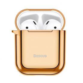 Husa protectie Apple AirPods 1/2, Baseus Shining Hook, Auriu, Carabina metalica inclusa, ARAPPOD-A0V