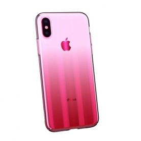 Husa Apple iPhone X / XS, Baseus Aurora, Roz Transparent