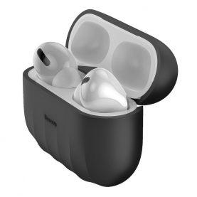 Husa protectie Apple AirPods Pro, Baseus, Shell pattern, Silicon, Negru, WIAPPOD-BK01