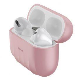 Husa protectie Apple AirPods Pro, Baseus, Shell pattern, Silicon, Roz, WIAPPOD-BK04