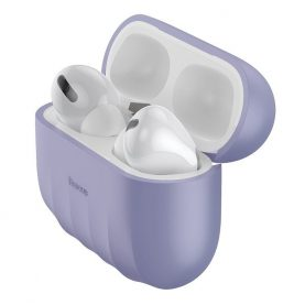 Husa protectie Apple AirPods Pro, Baseus, Shell pattern, Silicon, Violet, WIAPPOD-BK05