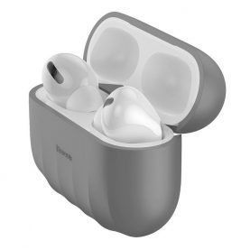 Husa protectie Apple AirPods Pro, Baseus, Shell pattern, Silicon, Gri, WIAPPOD-BK0G