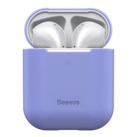 Husa protectie Apple AirPods 1/2, Baseus, Super slim, Silicon, Violet, WIAPPOD-BZ05