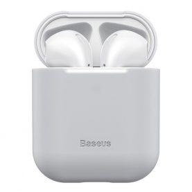 Husa protectie Apple AirPods 1/2, Baseus, Super slim, Silicon, Gri, WIAPPOD-BZ0G