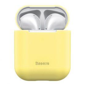 Husa protectie Apple AirPods 1/2, Baseus, Super slim, Silicon, Galben, WIAPPOD-BZ0Y