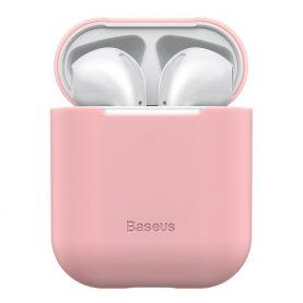 Husa protectie Apple AirPods 1/2, Baseus, Super slim, Silicon, Roz, WIAPPOD-BZ04