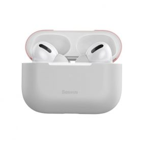 Husa protectie Apple AirPods Pro, Roz si gri, Ultra slim, Silicagel