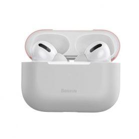Husa protectie Apple AirPods Pro, Roz si gri, Ultra slim, Silicagel