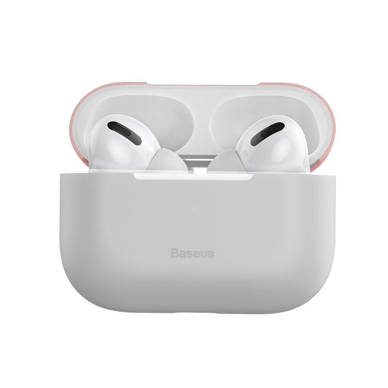 Husa protectie Apple AirPods Pro, Roz si gri, Ultra slim, Silicagel imagine