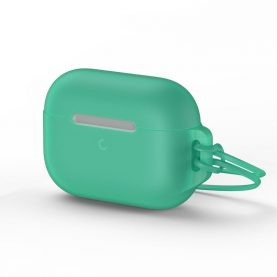 """Husa protectie Apple AirPods Pro, """"Let's go Jelly Lanyard"""", Baseus, Verde, Silicon gel, WIAPPOD-D06"""