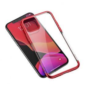 Husa Apple iPhone 11 Pro Max, Baseus Shining Case, 6.5 inch, Transparent / Rosu