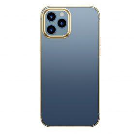 Husa pentru Apple iPhone 12 Pro Max, Baseus Shining Case, Transparent / Auriu, 6.7 inch