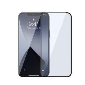 Pachet 2 folii de sticla pentru iPhone 12 / 12 Pro, Baseus, Margini negre, Filtru lumina albastra