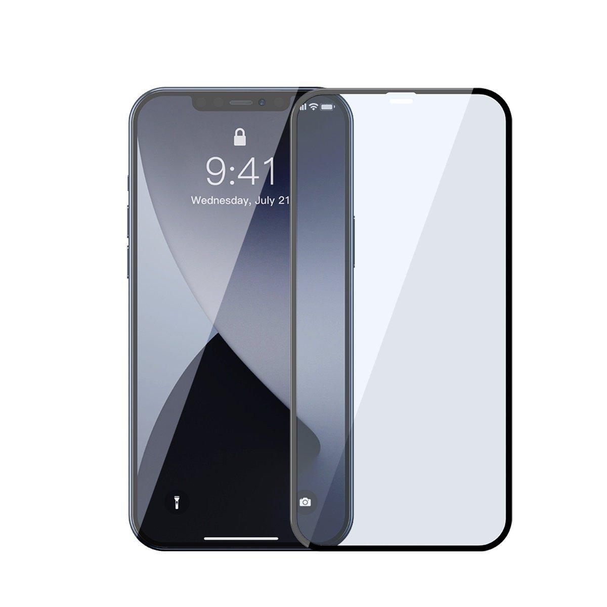 Pachet 2 folii de sticla pentru iPhone 12 / 12 Pro, Baseus, Margini negre, Filtru lumina albastra imagine