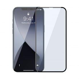 Pachet 2 folii de sticla pentru iPhone 12 Pro Max, Baseus, Margini negre, Filtru lumina albastra
