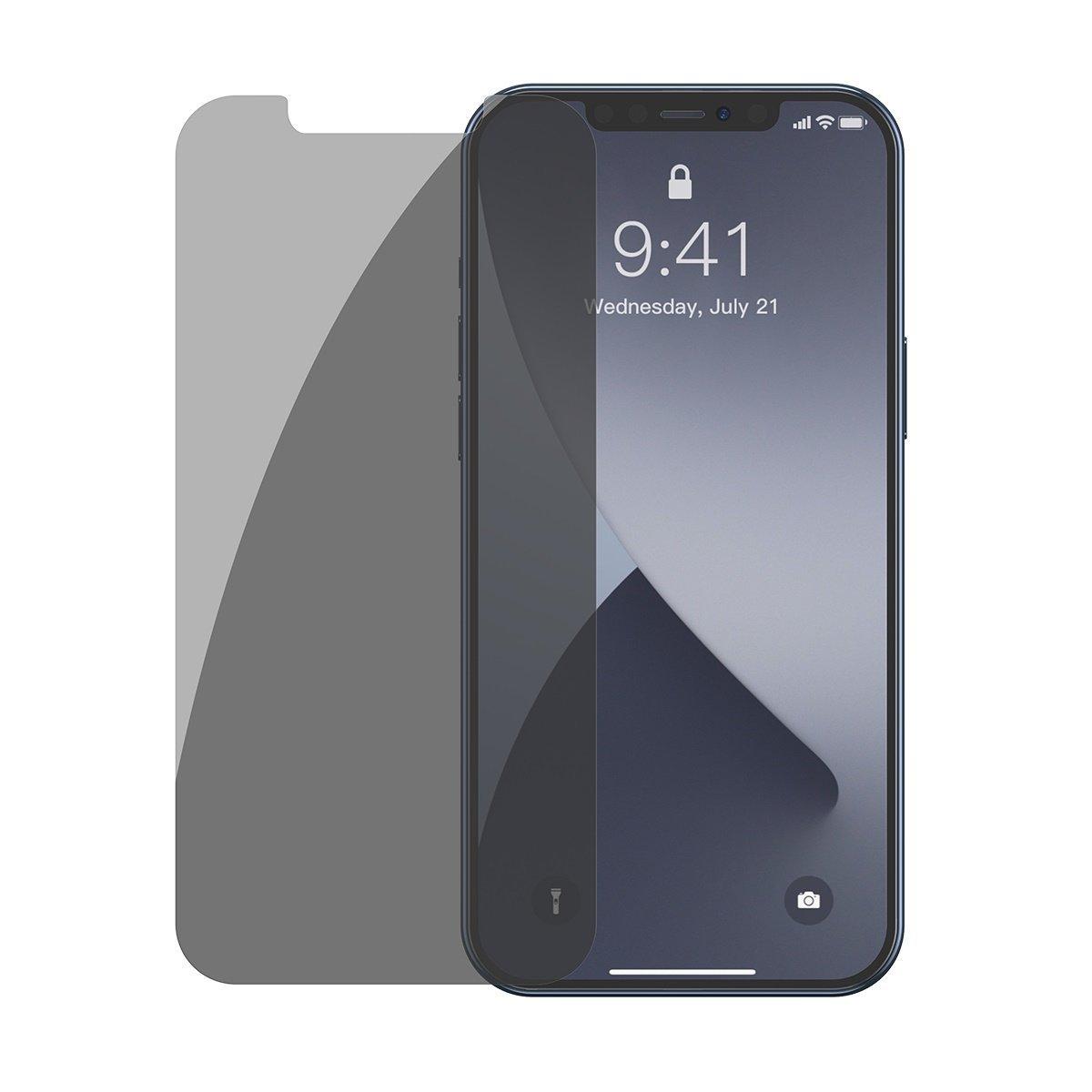 Pachet 2 folii de sticla pentru iPhone 12 / 12 Pro, Tenta fumurie, Privacy Glass, 6.1 inch imagine