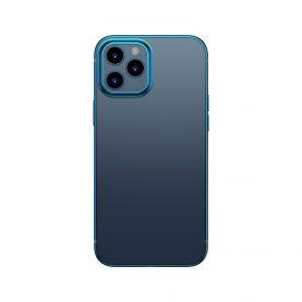 Husa Apple iPhone 12 / 12 Pro, Baseus Shining Case, Transparent / Albastru, 6.1 inch