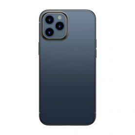 Husa Apple iPhone 12 / 12 Pro, Baseus Shining Case, Transparent / Negru, 6.1 inch