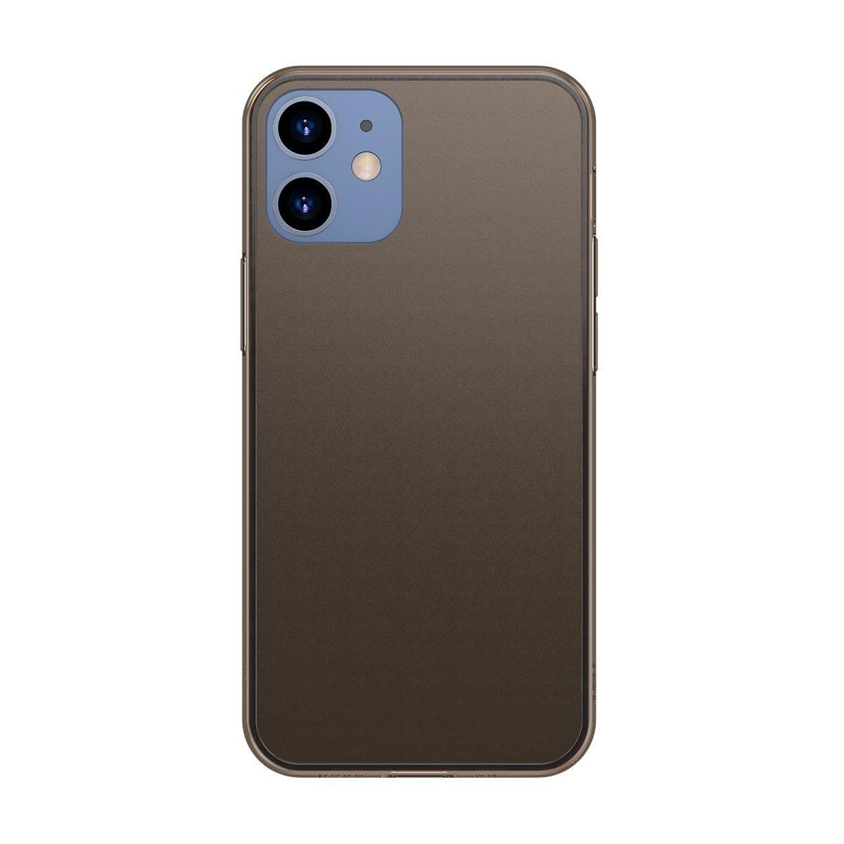 Husa pentru Apple iPhone 12, Baseus Frosted Glass, Negru, 6.1 inch imagine