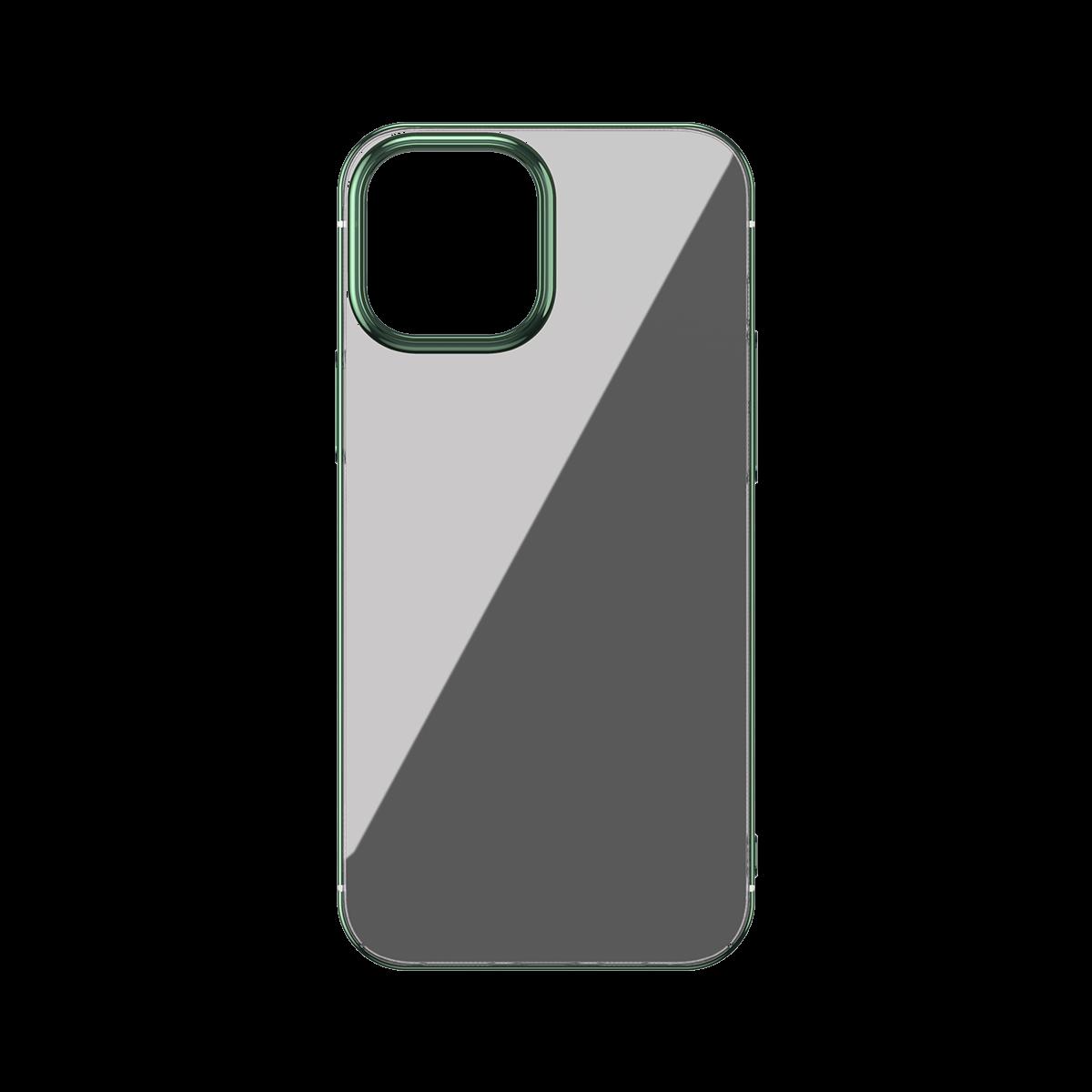 Husa Apple iPhone 12 / 12 Pro, Baseus Glitter, Verde / Transparent, 6.1 inch imagine