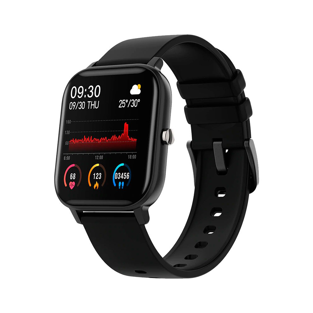 Ceas Smartwatch Twinkler TKY-P8, Negru, Masurare ritm cardiac, Pedometru, Moduri sportive, Memento sedentar imagine