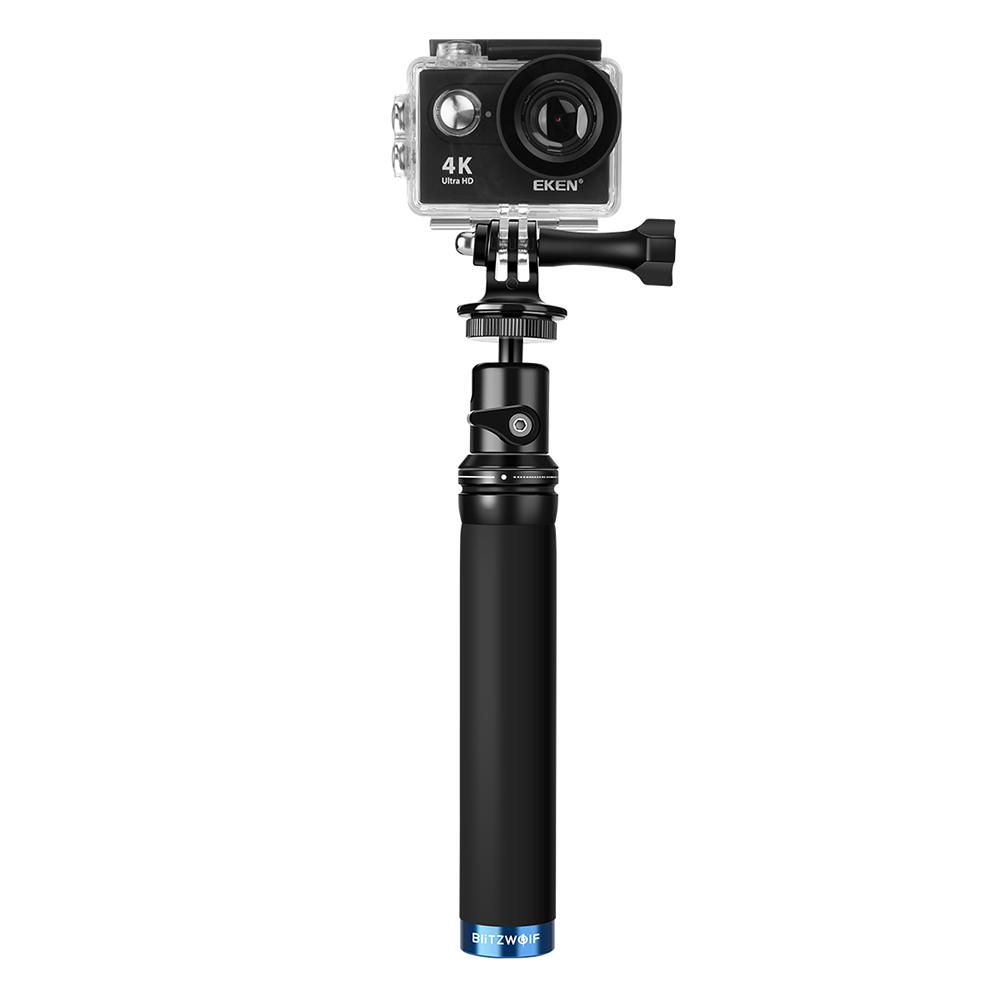 Selfie stick BlitzWolf BW-BS0, Negru, Pentru camere sport, Extensibil, Curea de prindere inclusa imagine