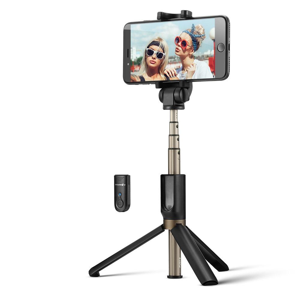 Selfie stick BlitzWolf BW-BS3, Negru, Cu trepied, Portabil, 3 in 1, Bluetooth 3.0 imagine