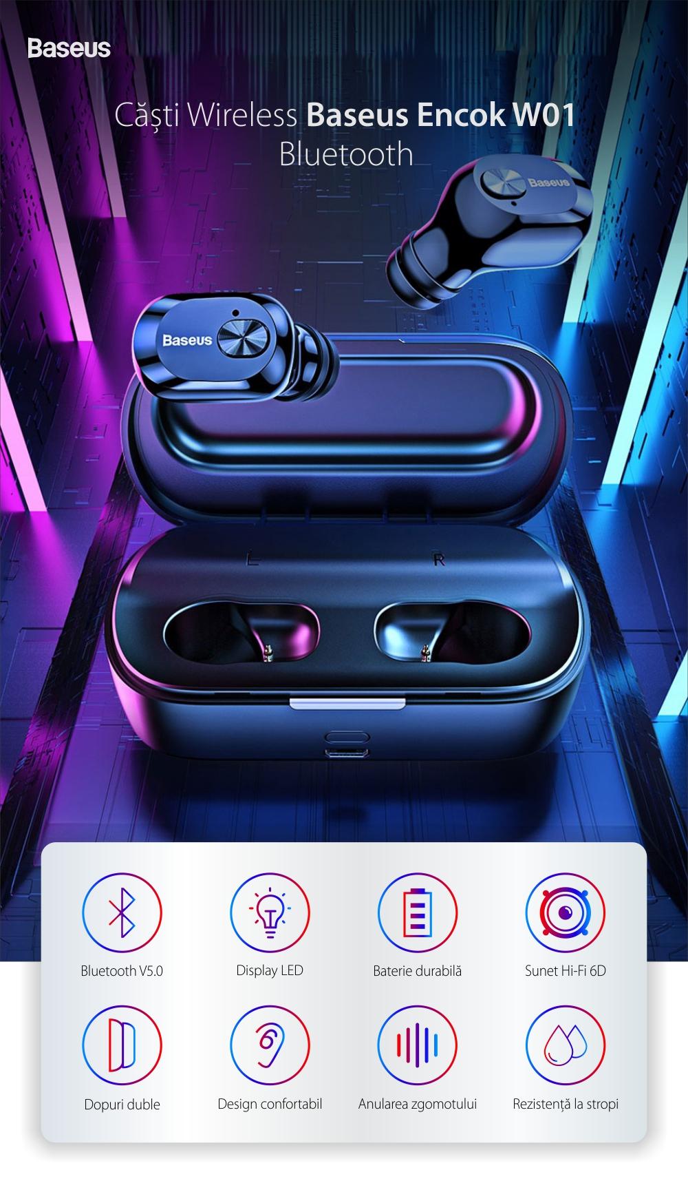 Casti in-Ear Baseus Encok W01, Negru, Wireless, Bluetooth 5.0