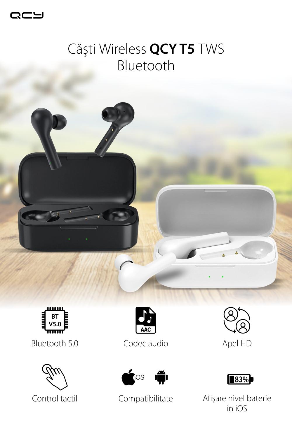 Casti in-Ear QCY T5 TWS, Negru, Wireless, Bluetooth 5.0, Control touch, Baterie 380 mAh