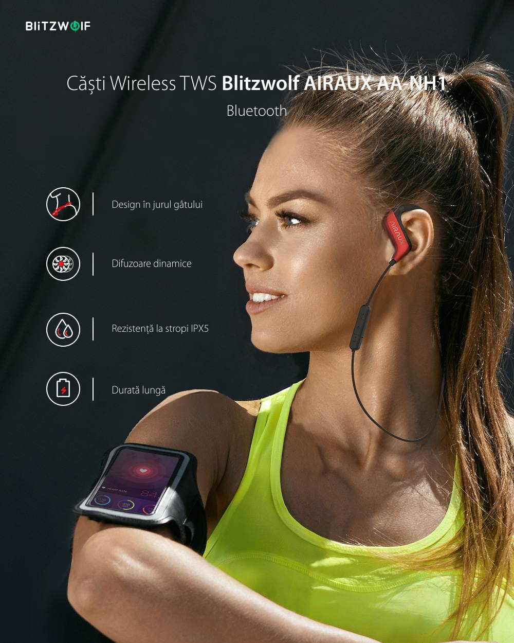 Casti BlitzWolf AIRAUX AA-NH1, Rosu si negru, Wireless, Bluetooth 5.0, Impedanta 16 ohm