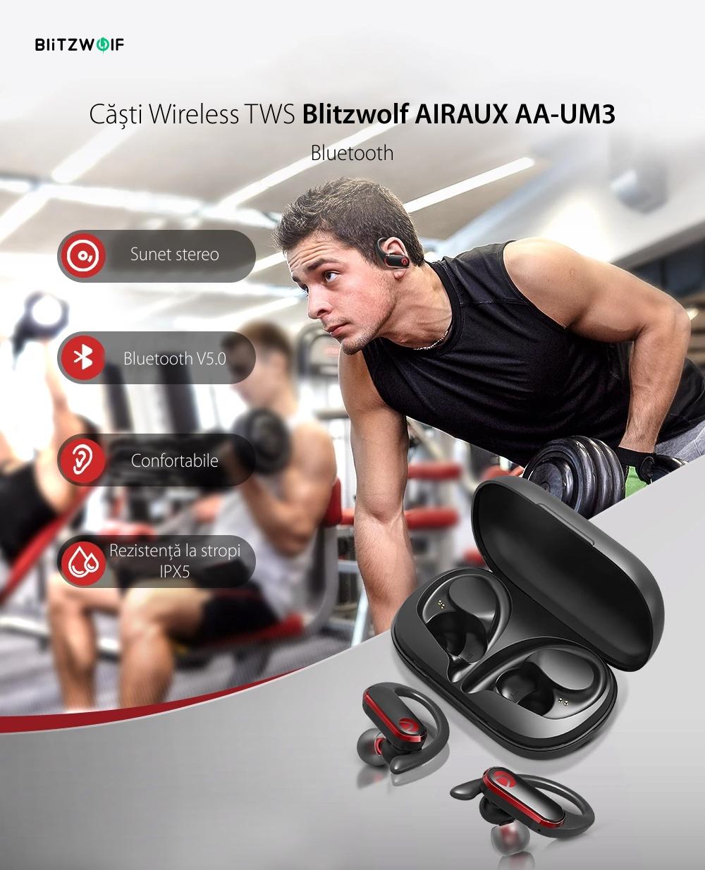 Casti in-Ear BlitzWolf AIRAUX AA-UM3, TWS, Wireless, Bluetooth 5.0, Baterie 500 mAh