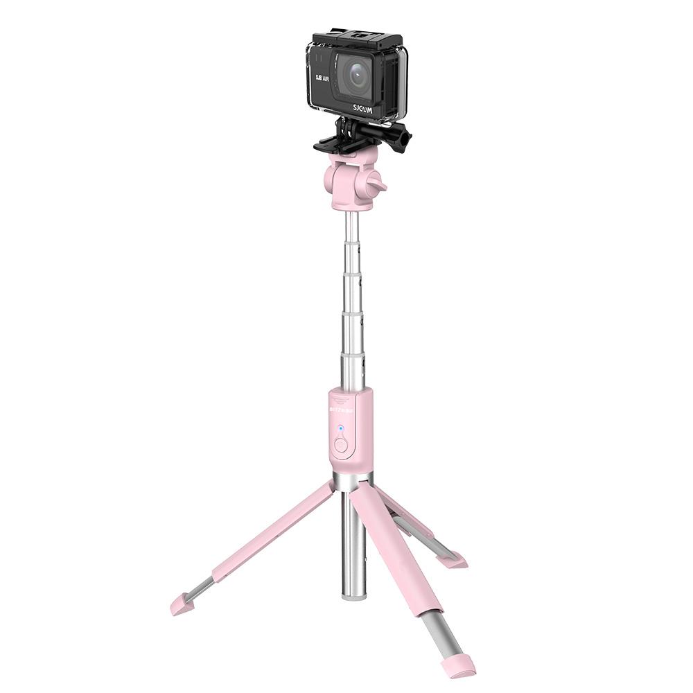 Selfie stick BlitzWolf BW-BS5 Pink, Cu trepied, Multifunctional, 3 in 1, Bluetooth, Control din telecomanda imagine
