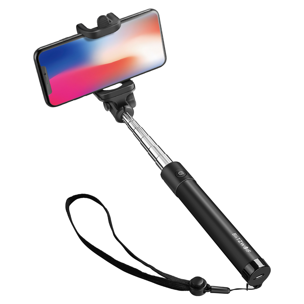 Selfie stick BlitzWolf BW-BS6, Negru, Pentru telefoane mobile, Extensibil, Bluetooth 3.0 imagine